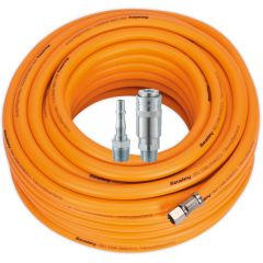 "Air Hose 20m x Ø8mm Hybrid High Visibility with 1/4""BSP Unions and PCL Type Coupling & Adapter"
