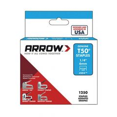 "Arrow T50 Staples 6mm 1/4"" (1250 Box) - 50424"