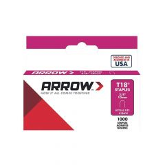 "Arrow T18 Round Crown White Painted Staples 10mm 3/8"" (1000 Box) - 187W"