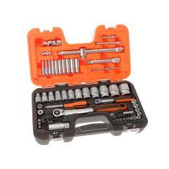 Bahco Socket Set of 56 Metric 1/4 & 1/2in Drive - BAHS560