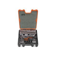 Bahco Socket Set of 77 Metric & AF 1/4 & 1/2in Drive - BAHS800