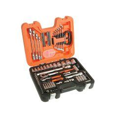 Bahco Socket & Spanner Set of 92 Metric & AF 1/4 & 1/2in Drive - BAHS910