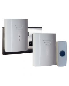 Byron Wireless Doorbell Kit with Portable & Plug In Chimes 50m - BYRB322