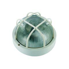 Byron White Plastic Bulkhead Light - No Bulb - BYRBE100W