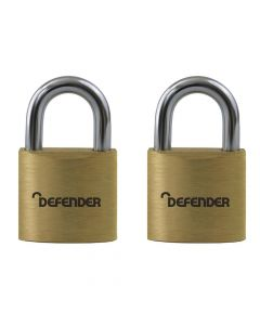 Defender 20mm Brass Padlock Twin Pack - DFBP2T