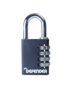 Defender 40mm Black Diecast Combination Padlock - DFCOMBI40