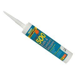 Everbuild 500 Bath & Sanitary Silicone Sealant Ivory 290ml - EVB500IV