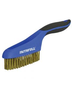 Faithfull Scratch Brush Soft Grip 4 x 16 Row Brass - FAISB164SB