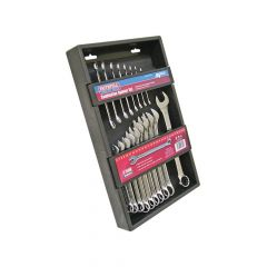 Faithfull Metric Chrome Vanadium Combination Spanner Set, 18 Piece - FAISPASETC18