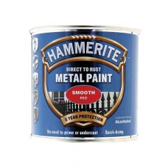 Hammerite Direct to Rust Smooth Finish Metal Paint Red 250ml - HMMSFR250