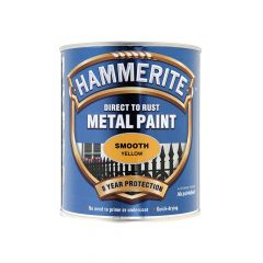 Hammerite Direct to Rust Smooth Finish Metal Paint Yellow 750ml - HMMSFY750
