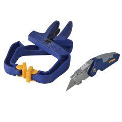 IRWIN Folding Knife + 4in Handy Clamp Twin Pack - IRW1888438AV