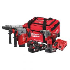 Milwaukee M18 FPP3A-564B SDS Triple Kit 3 x 18V 5.0Ah/1 x 12V 6.0Ah Li-ion - MILM18FPP3A