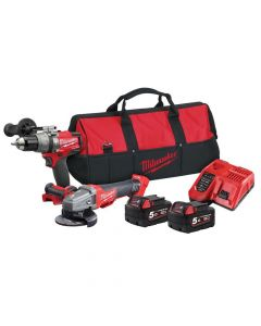 Milwaukee M18 ONEPP2M FUEL ONE-KEY Combi & Grinder Twin Pack 18V 2 x 5.0Ah Li-ion - MILM18OPP2M