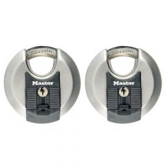 Master Lock Excell Stainless Steel Discus 70mm Padlock Keyed Alike x 2 - MLKM40T