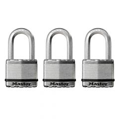 Master Lock Excell Laminated Steel 50mm Padlock - 38mm Shackle - Keyed Alike x 3 - MLKM5TRILF
