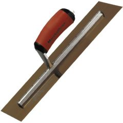"""Marshalltown Finishing Trowel 14"""" x 4"""" - Gold Stainless Steel - Curved Durasoft Handle - MXS64GSD"""