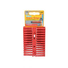 Plasplugs Solid Wall Super Grips Fixings Red (100) - PLASRP502