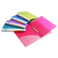 Rapesco 15mm 2-Ring, Bright Transparent Ring Binder, A4 (assorted colours) - 0799