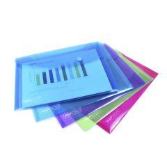 Rapesco Bright Transparent Popper Wallet, A5 (assorted colours) - 0689
