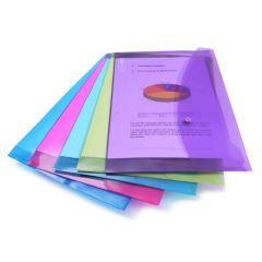 Rapesco Bright Transparent Popper Wallet, Foolscap (assorted colours) - 0688