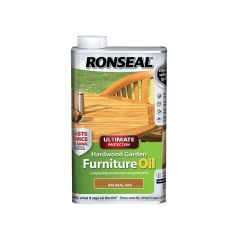 Ronseal Ultimate Protection Hardwood Garden Furniture Oil Natural Oak 1 Litre - RSLUHWGFOO1L
