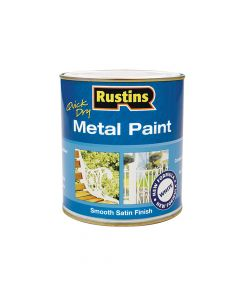 Rustins Quick Dry Metal Paint Smooth Satin White 500ml - RUSMPSSWH500