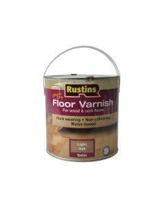 Rustins Quick Dry Coloured Floor Varnish Light Oak 2.5 Litre - RUSQDCFVLO25