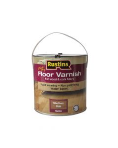 Rustins Quick Dry Coloured Floor Varnish Medium Oak 2.5 Litre - RUSQDCFVMO25