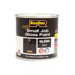 Rustins Quick Dry Small Job Gloss Paint Black 250ml - RUSSJPBKQD
