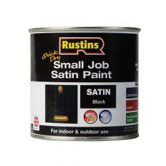 Rustins Quick Dry Small Job Satin Paint, Black 250ml - RUSSJPSBKQD