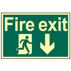 Scan Fire Exit Running Man Arrow Down - Photoluminescent 300 x 200mm - SCA1580