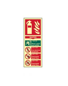 Scan Fire Extinguisher Composite Water - Photoluminescent 75 x 200mm - SCA1590
