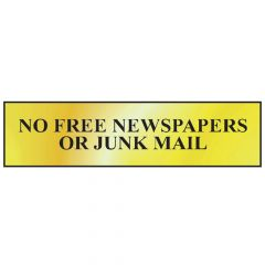 Scan No Free Newspapers Or Junk Mail - Polished Brass Effect 200 x 50mm - SCA6023