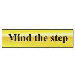 Scan Mind The Step - Polished Brass Effect 200 x 50mm - SCA6029