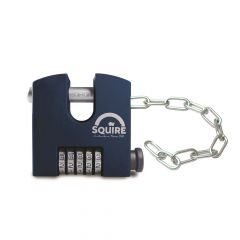 Squire SHCB75/Chain - SHCB High Security Combination Padlock With Chain Attachment (2.4mm x 305mm) - 5 wheel