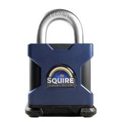 Squire SS65E - Stronghold 65mm Hardened Steel Padlock (Body Only) - Open Shackle - Accepts any Modified 71mm Double Euro Cylinder