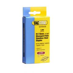 Tacwise 91 - 18mm Divergent Point Stainless Staples 1000 Pack - 1069