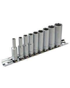 Teng Deep Socket Clip Rail Set of 10 Metric 1/4in Drive - TENM1407