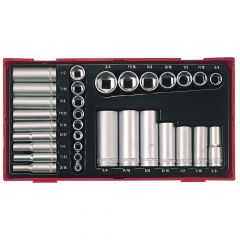 Teng 32 Piece Reg/ Deep Socket Set 1/4-3/8in Drive - TENTTAF32