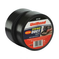 Unibond Duct Tape Black 50mm x 50m Twin Pack - UNI1418247