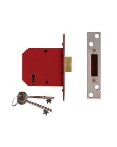 UNION 2101 5 Lever Mortice Deadlock Satin Brass Finish 77.5mm 3in Visi - UNNY2101PL30