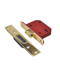 UNION StrongBOLT 2103S 3 Lever Mortice Deadlock Polished Brass 68mm 2.5in Visi - UNNY2103PB25