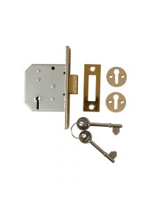 UNION 2177 3 Lever Mortice Deadlock Polished Brass 65mm 2.5in Visi - UNNY2177PL25