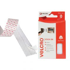 VELCRO Brand Stick On Tape 20mm x 1m White - VEL60210