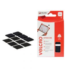 VELCRO Brand Stick On Squares 25mm Black Pack of 24 - VEL60236