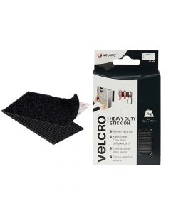 VELCRO Brand Heavy-Duty Stick On Strips (2) 50 x 100mm Black - VEL60239