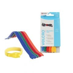 VELCRO Brand ONE-WRAP Reusable Ties (5) 12mm x 20cm Multi-Colour - VEL60250