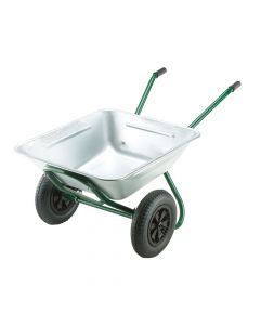 Walsall 175L Galvanised Garden Twin Wheelbarrow - WALGRTWGVPDD