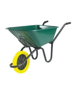 Walsall 120L Green Monarch Polypropylene Wheelbarrow - Puncture Proof - WALMGMK2PPDD